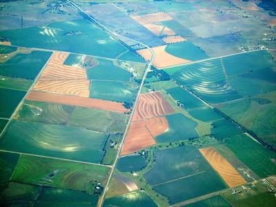 Aerial view of landscape and agriculture